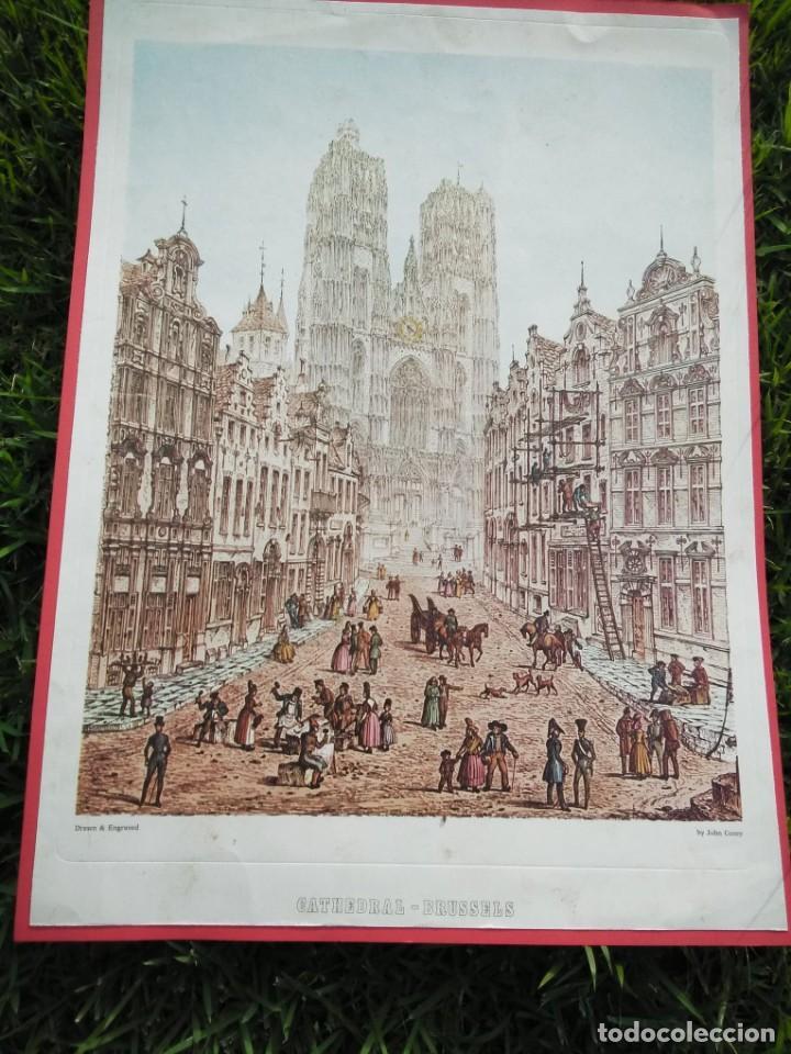 CROMOLITOGRAFÍA ANTIGUA: CATHEDRAL - BRUSSELS, BY JOHN CONEY (Arte - Cromolitografía)