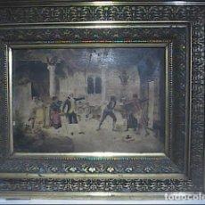 Arte: CROMOLITOGRAFIA Y OLEO SOBRE MADERA DE FINALES DEL S.XIX. ESCENA COSTUMBRISTA ESPAÑOLA DEL S.XVIII.. Lote 223609912