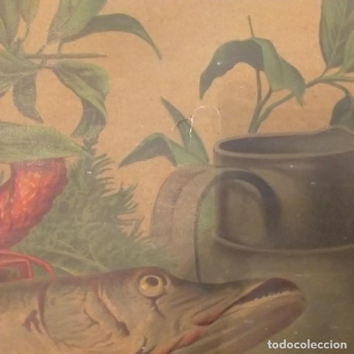 Arte: Bodegón de pescados. Cromolitografía . - Foto 3 - 224101175