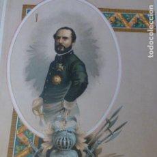 Arte: GENERAL PRIM REUS TARRAGONA CROMOLITOGRAFIA SIGLO XIX 22 X 32 CMTS. Lote 225771365