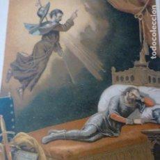 Arte: APARICION DEL APOSTOL SANTIAGO A RAMIRO I CROMOLITOGRAFIA SIGLO XIX 22 X 32 CMTS. Lote 225802796