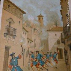 Arte: JATIVA VALENCIA DESTRUCCION DE LA CIUDAD GUERRA DE SUCESION CROMOLITOGRAFIA SIGLO XIX 22 X 32 CMTS. Lote 225809050