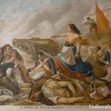 Arte: ZARAGOZA AGUSTINA DE ARAGON DEFENSORA CROMOLITOGRAFIA SIGLO XIX 22 X 32 CMTS. Lote 225812520