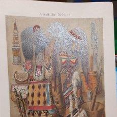 Arte: CULTURA ASIATICA / ANTIGUA Y ORIGINAL LITOGRAFIA ALEMANA DEL 1887 ASIA. Lote 197228567
