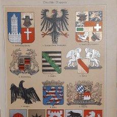 Arte: ESCUDOS DE ARMAS ALEMANES / ANTIGUA Y ORIGINAL LITOGRAFIA ALEMANA DEL 1887. Lote 197253567