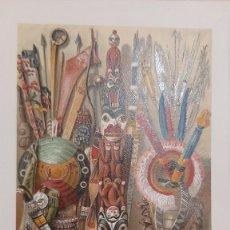 Art: ARMAS Y JOYAS DE LOS INDIOS AMERICANOS / ANTIGUA Y ORIGINAL LITOGRAFIA ALEMANA DEL 1887. Lote 197372980