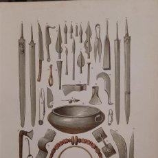 Art: ARMAS, EQUIPOS Y JOYAS DEL PERÍODO DE LA TÉNE / ANTIGUA Y ORIGINAL LITOGRAFIA ALEMANA DEL 1887. Lote 197373525