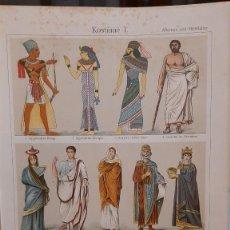 Arte: UXG TRAJES VESTIDOS HASTA S. XIV ANTIGUA Y ORIGINAL CROMOLITOGRAFIA ALEMANA 1894 GRABADO LITOGRAFIA. Lote 48986140