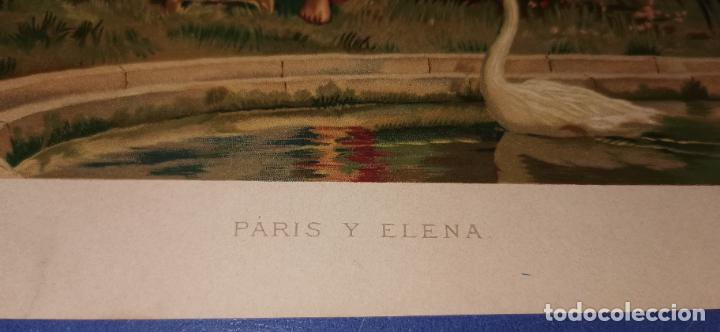 Arte: Cromolitografía Siglo XIX 24x 18 cm Paris y Elena - Foto 2 - 235709865