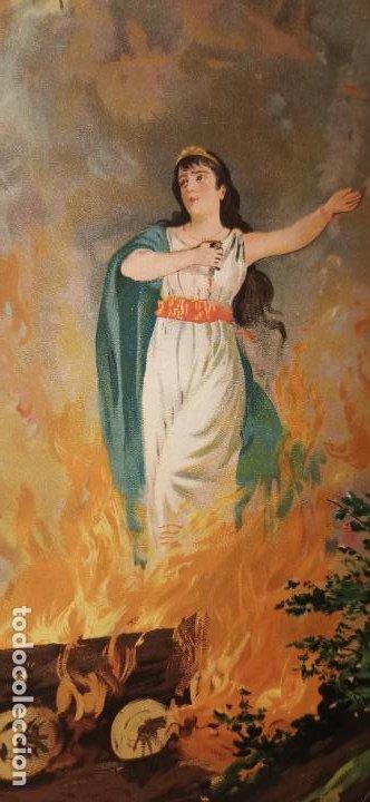 Arte: Cromolitografía Siglo XIX 24x 18 cm Suicidio de Dido - Foto 2 - 235710000