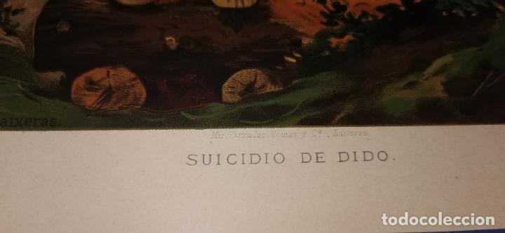 Arte: Cromolitografía Siglo XIX 24x 18 cm Suicidio de Dido - Foto 3 - 235710000