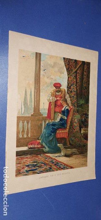 CROMOLITOGRAFÍA SIGLO XIX 24X 18 CM ENRIQUE VIII Y ANA BOLENA (Arte - Cromolitografía)