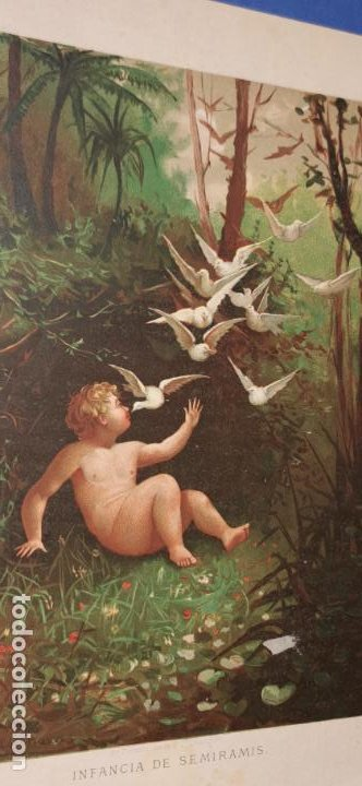 Arte: Cromolitografía Siglo XIX 24x 18 cm Infancia de Semiramis - Foto 2 - 235710530