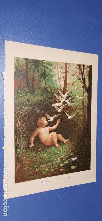 CROMOLITOGRAFÍA SIGLO XIX 24X 18 CM INFANCIA DE SEMIRAMIS (Arte - Cromolitografía)