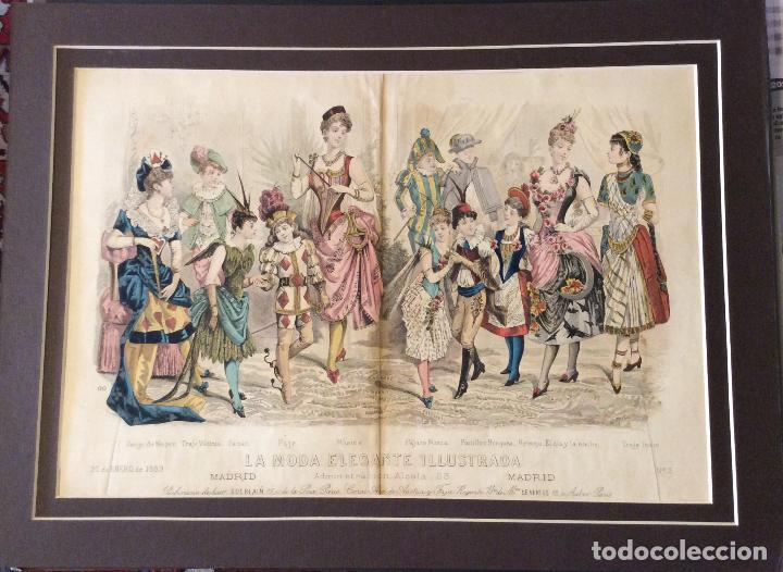 LA MODA ELELGANTE ILUSTRADA ,LITOGRAFÍA SIGLO XIX, 22 DE ENERO DE 1889, (Arte - Cromolitografía)