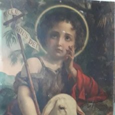 Art: CUADRO SOBRE CARTO EN CROMOLITOGRAFIA ( NIÑO JESUS CON SU CORDERO ). Lote 235991620