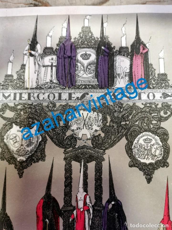 Arte: SEMANA SANTA SEVILLA, AÑOS 20, CROMOLITOGRAFIA MIERCOLES SANTO, LANZADA, BUEN FIN,ETC.145X215MM - Foto 3 - 236088795