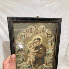 Art: CROMOLITOGRAFIA RELIGIOSA DE SAN ANTONIO!. Lote 236994590