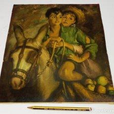 Arte: BELLA LAMINA ANTIGUA PLATERO Y DOS NIÑOS - POR PERE SEGIMON CISA (1904-1976). Lote 237130840