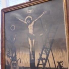 Art: LA PASION DE CRISTO ANTIGUA CROMOLITOGRAFIA LEIBER,ALEMANIA MIDE CON.MARCO 37X47CM NUMERADA44P RARA. Lote 237819265