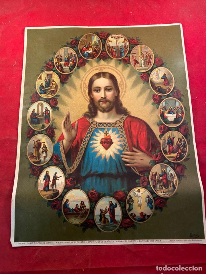 CROMOLITOGRAFÍA LA VIDA DE JESUCRISTO (Arte - Cromolitografía)