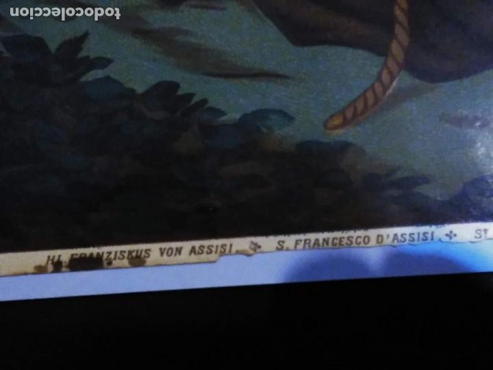 Arte: Cromolitografia antigua de San Francisco de Asis. S. XIX - XX - Foto 13 - 240538165
