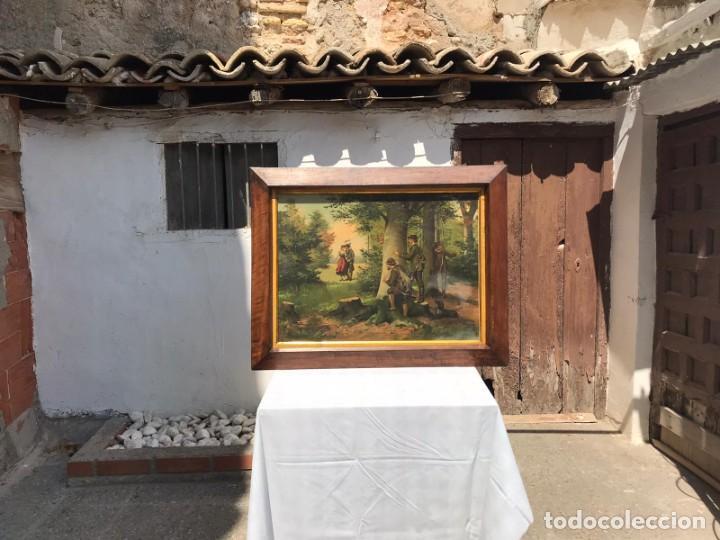 Arte: ANTIGUA CROMOLITOGRAFIA ENMARCADA ESCENA DE CAZADORES SIGLO XIX - Foto 3 - 243291275