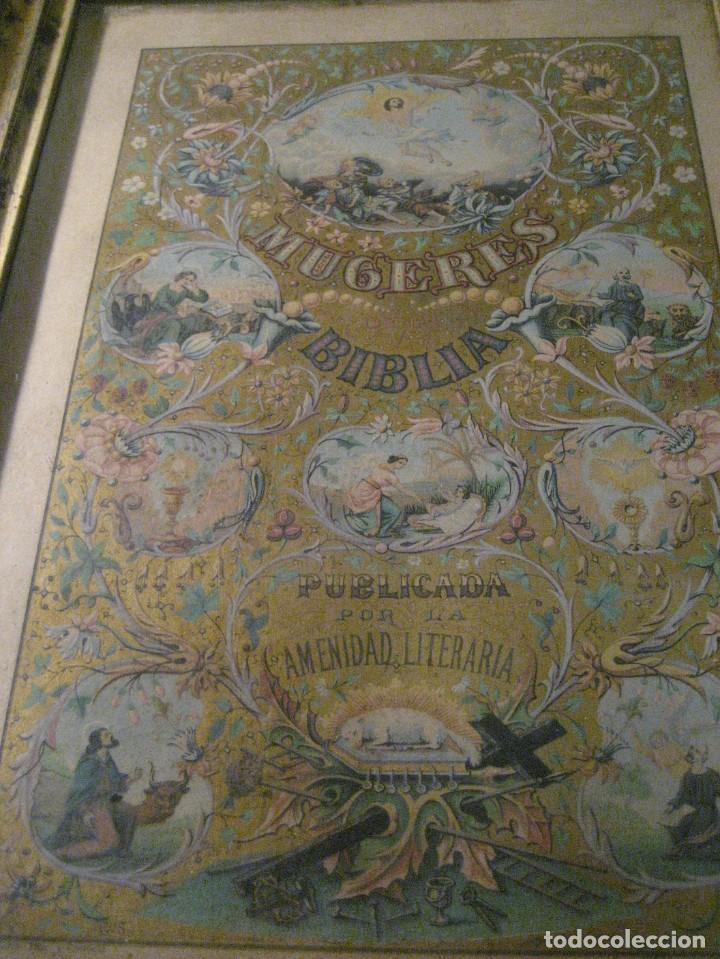 Arte: preciosa litografia del libro mugeres de la biblia . amenidad literaria . enmarcada marco mujeres - Foto 3 - 247193165