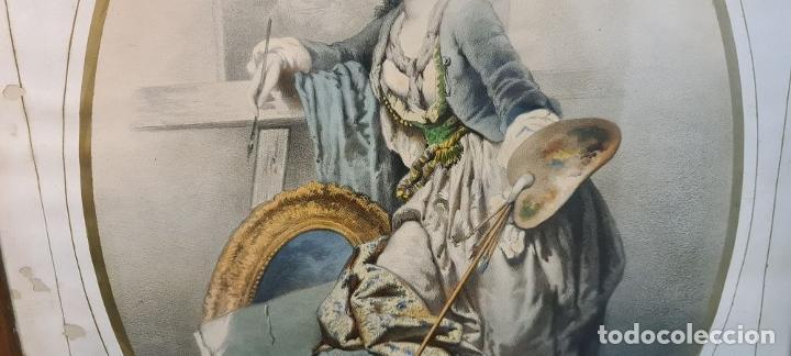 Arte: 4 ALEGORÍAS A LAS ARTES. LITOGRAFÍA SOBRE PAPEL. FRANÇOIS DELARUE. SIGLO XIX. - Foto 3 - 253421945