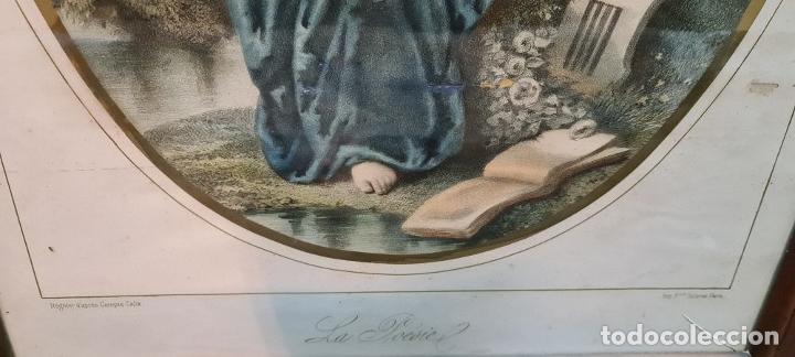 Arte: 4 ALEGORÍAS A LAS ARTES. LITOGRAFÍA SOBRE PAPEL. FRANÇOIS DELARUE. SIGLO XIX. - Foto 12 - 253421945