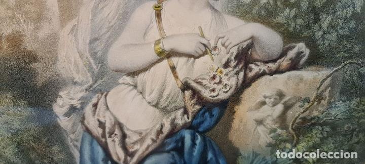 Arte: 4 ALEGORÍAS A LAS ARTES. LITOGRAFÍA SOBRE PAPEL. FRANÇOIS DELARUE. SIGLO XIX. - Foto 13 - 253421945