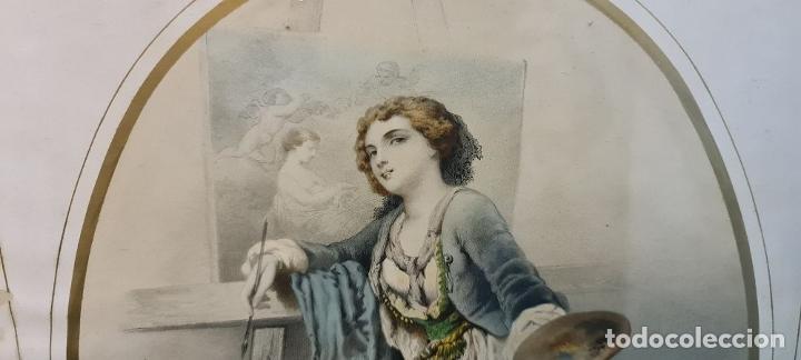 Arte: 4 ALEGORÍAS A LAS ARTES. LITOGRAFÍA SOBRE PAPEL. FRANÇOIS DELARUE. SIGLO XIX. - Foto 15 - 253421945