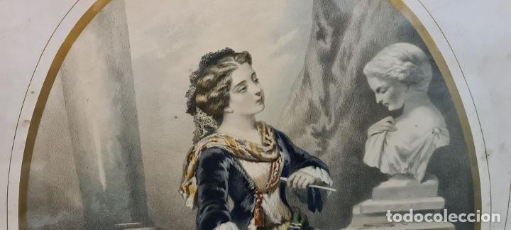 Arte: 4 ALEGORÍAS A LAS ARTES. LITOGRAFÍA SOBRE PAPEL. FRANÇOIS DELARUE. SIGLO XIX. - Foto 16 - 253421945