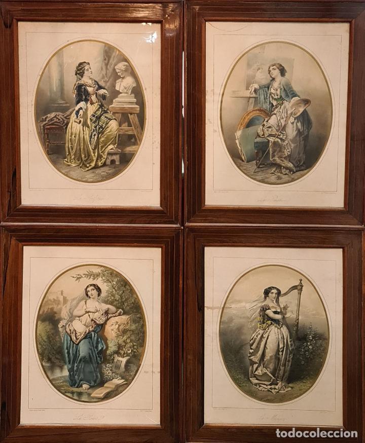 4 ALEGORÍAS A LAS ARTES. LITOGRAFÍA SOBRE PAPEL. FRANÇOIS DELARUE. SIGLO XIX. (Arte - Cromolitografía)