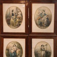 Arte: 4 ALEGORÍAS A LAS ARTES. LITOGRAFÍA SOBRE PAPEL. FRANÇOIS DELARUE. SIGLO XIX.. Lote 253421945