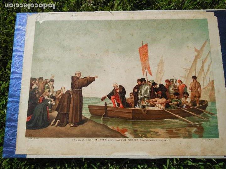 Arte: Antigua cromolitografía: Salida de Cristóbal Colón del Puerto de Palos. Lit de J. Palacios - Foto 11 - 254057670