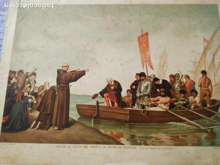 Arte: Antigua cromolitografía: Salida de Cristóbal Colón del Puerto de Palos. Lit de J. Palacios - Foto 3 - 254057670
