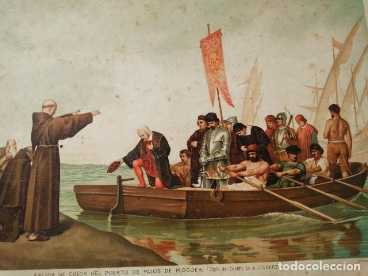 Arte: Antigua cromolitografía: Salida de Cristóbal Colón del Puerto de Palos. Lit de J. Palacios - Foto 5 - 254057670
