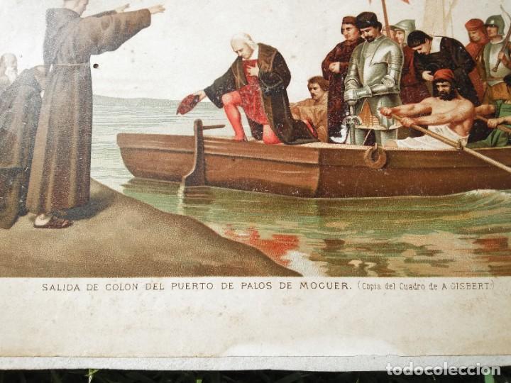 Arte: Antigua cromolitografía: Salida de Cristóbal Colón del Puerto de Palos. Lit de J. Palacios - Foto 4 - 254057670