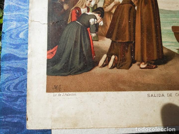 Arte: Antigua cromolitografía: Salida de Cristóbal Colón del Puerto de Palos. Lit de J. Palacios - Foto 7 - 254057670