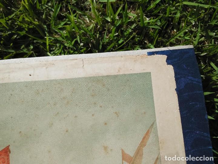 Arte: Antigua cromolitografía: Salida de Cristóbal Colón del Puerto de Palos. Lit de J. Palacios - Foto 8 - 254057670