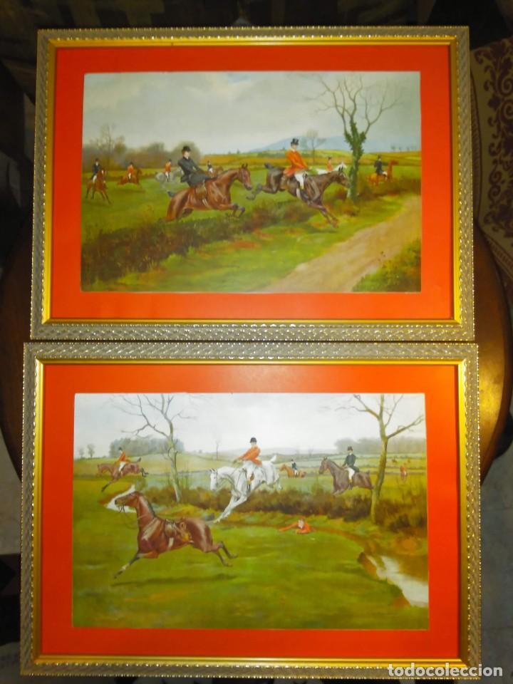 Arte: Dos grabados, cacería hípica, firmados George Derville Rowlandson - Foto 2 - 254993025