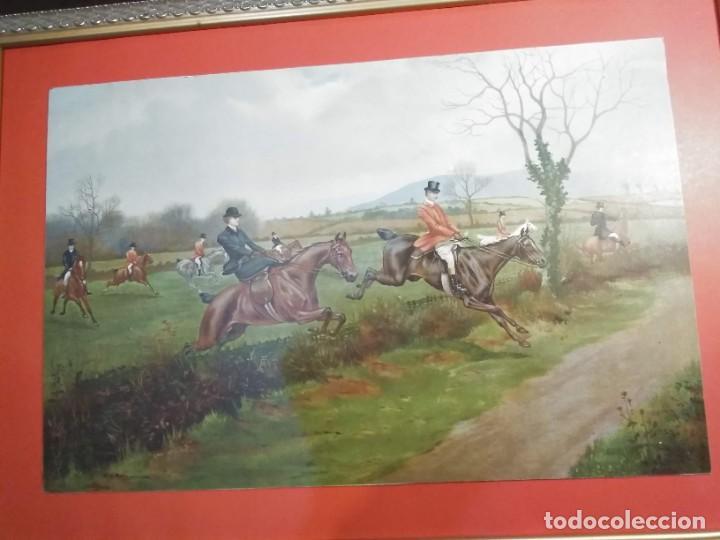 Arte: Dos grabados, cacería hípica, firmados George Derville Rowlandson - Foto 4 - 254993025