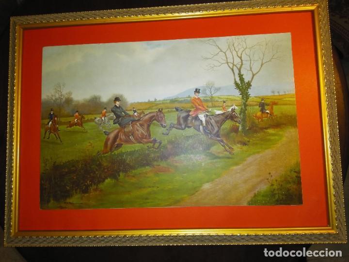 Arte: Dos grabados, cacería hípica, firmados George Derville Rowlandson - Foto 3 - 254993025
