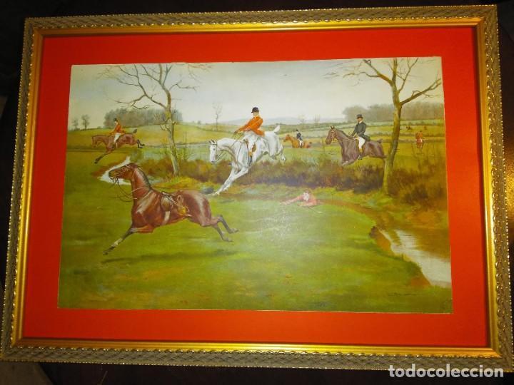 Arte: Dos grabados, cacería hípica, firmados George Derville Rowlandson - Foto 17 - 254993025
