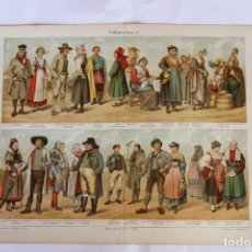 Arte: HISTORIA DEL VESTIDO TRAJES TÍPICO ALEMANES (VOLKSTRACHTEN) CROMOLITOGRAFÍA MEYERS LEXIKON 1895. Lote 255956370