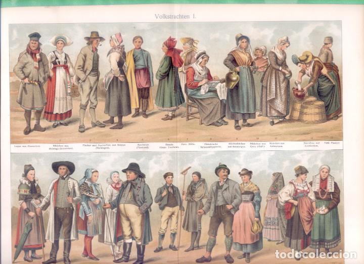 Arte: HISTORIA DEL VESTIDO TRAJES TÍPICO ALEMANES (VOLKSTRACHTEN) CROMOLITOGRAFÍA MEYERS LEXIKON 1895 - Foto 2 - 255956370