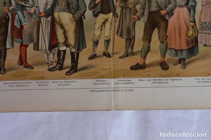 Arte: HISTORIA DEL VESTIDO TRAJES TÍPICO ALEMANES (VOLKSTRACHTEN) CROMOLITOGRAFÍA MEYERS LEXIKON 1895 - Foto 3 - 255956370