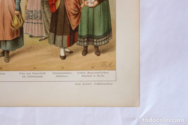 Arte: HISTORIA DEL VESTIDO TRAJES TÍPICO ALEMANES (VOLKSTRACHTEN) CROMOLITOGRAFÍA MEYERS LEXIKON 1895 - Foto 4 - 255956370