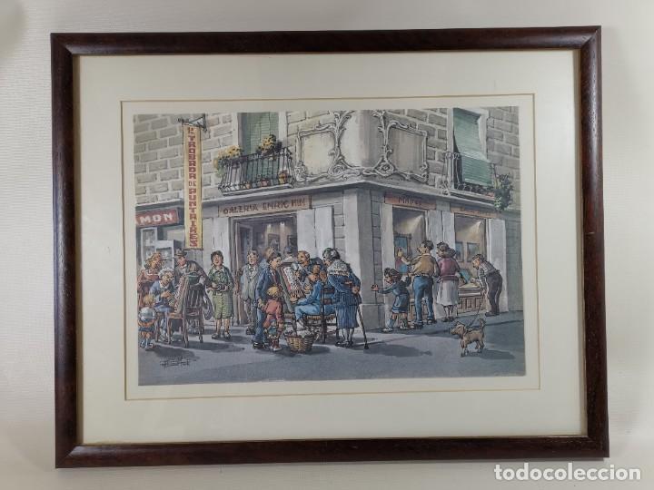 Arte: LAMINA DIBUJO DE 1ª TROBADA PUNTAIRES EN ACTUAL XOCOLATERIA PLAÇA NOVA EL VENDRELL-FIRMADO - Foto 2 - 255960295